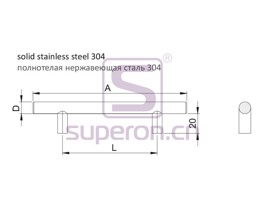 05-1002-q | Furniture handle, solid SS304