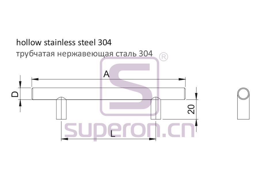 05-1005-q | Furniture handle, hollow, SS304
