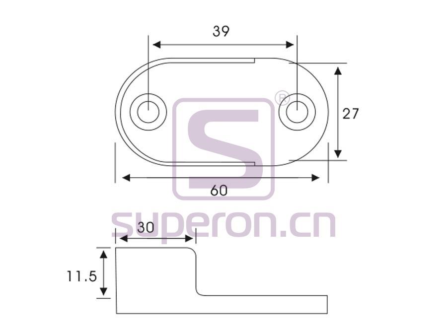 06-104-q | Tube oval flange, steel, D25mm