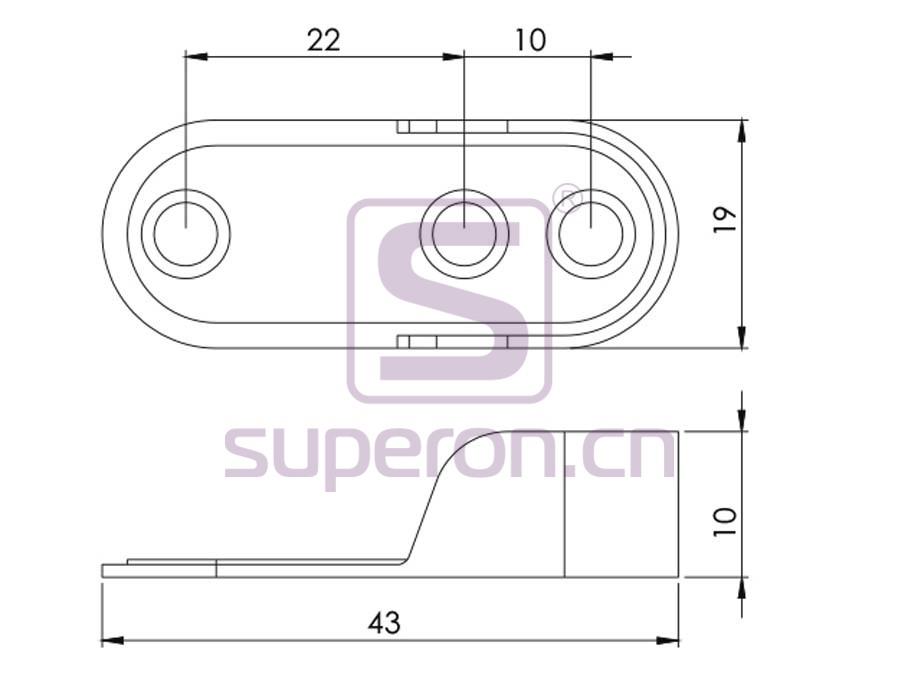 06-112-q | Tube flange, 15x30mm (3 holes)
