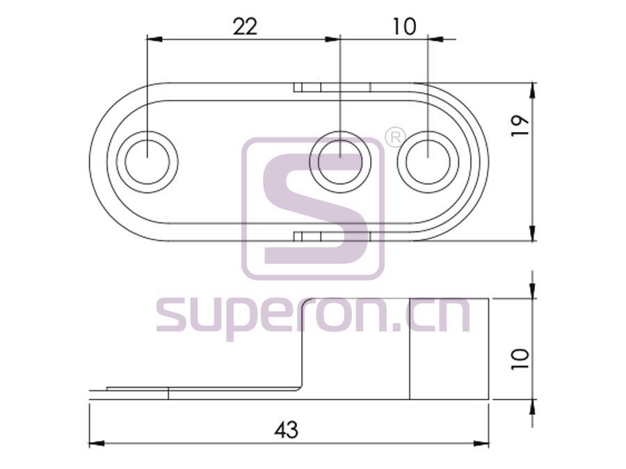 06-114-q | Tube flange, 15x30mm (3 holes)