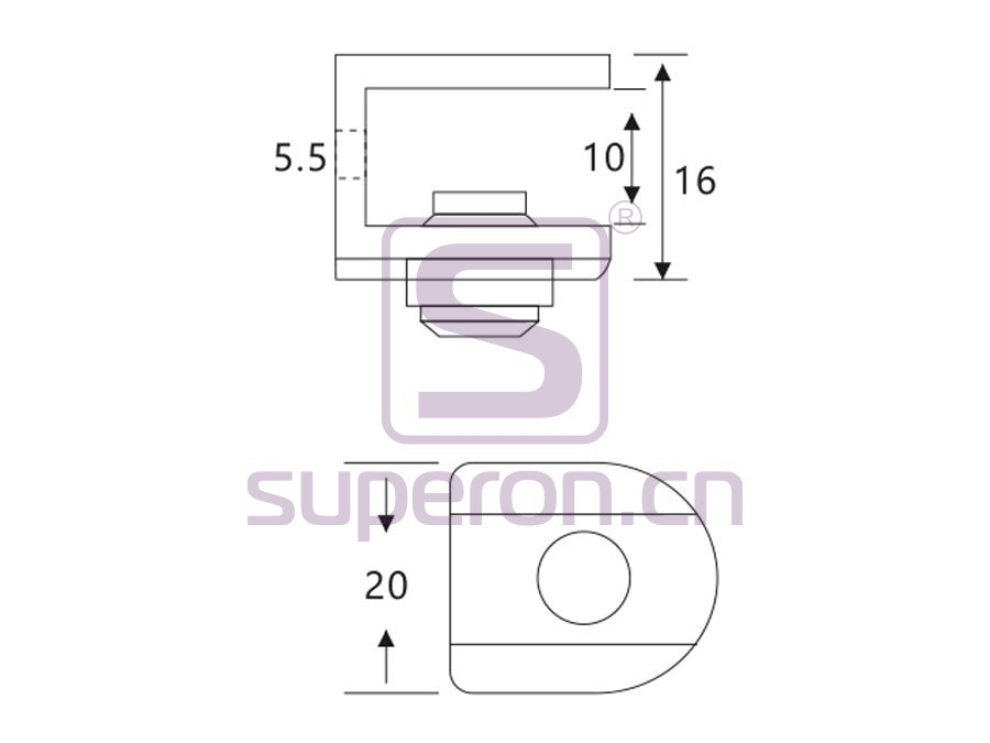 08-005-q | Shelf support, with screw hole