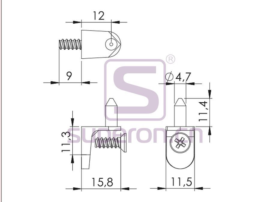 08-013-q | Shelf support with nail and screw