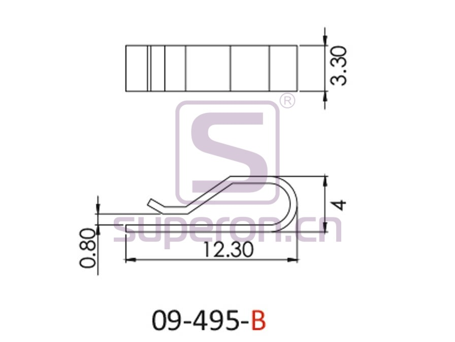 09-495-B-q | Clip for Pile weather strip