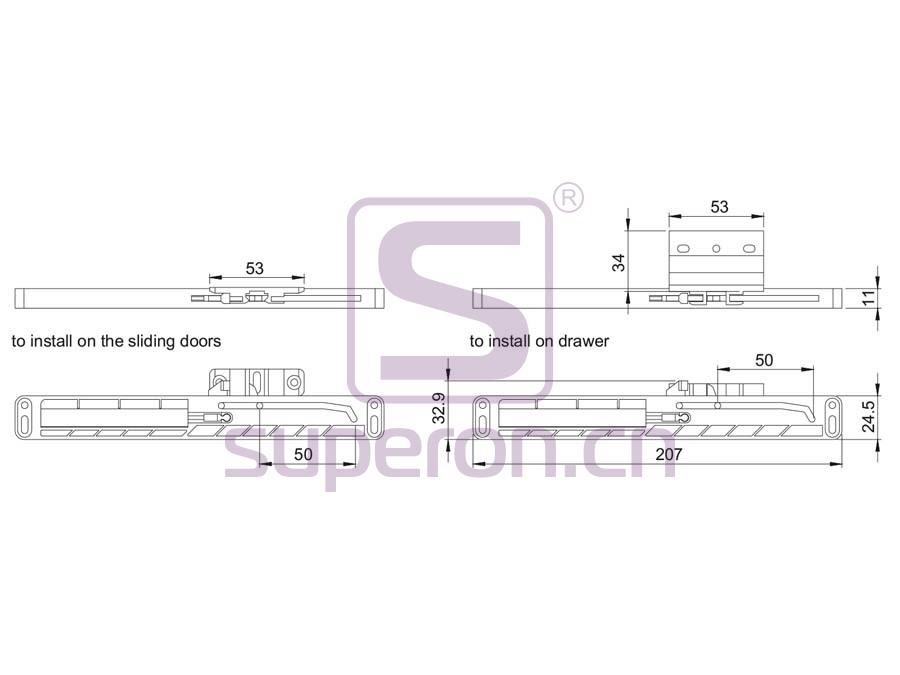 09-908-q | Soft closer for sliding doors