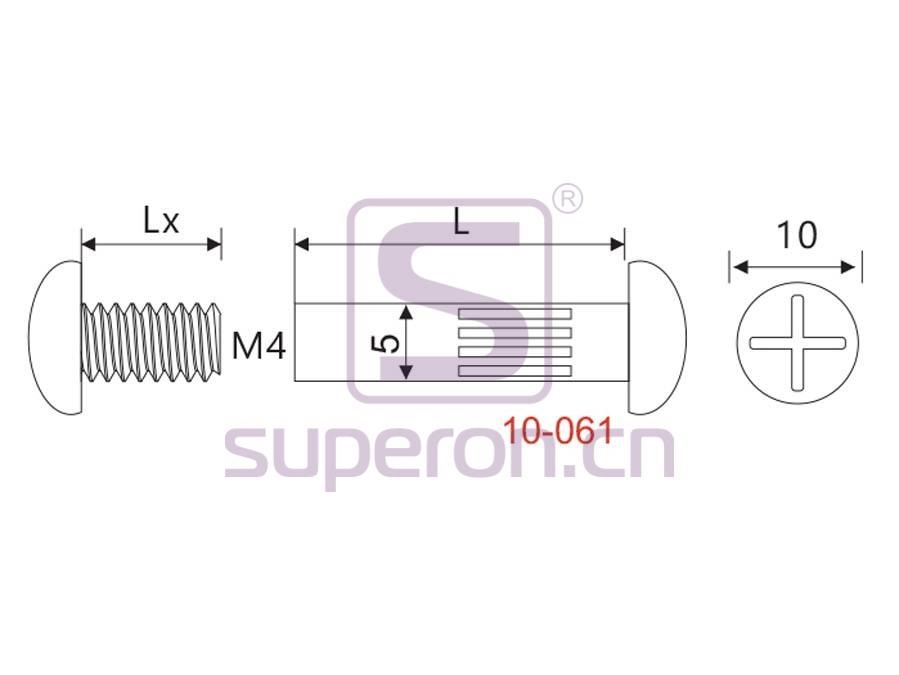 10-061-q | Mini mounting screw, M4/D5