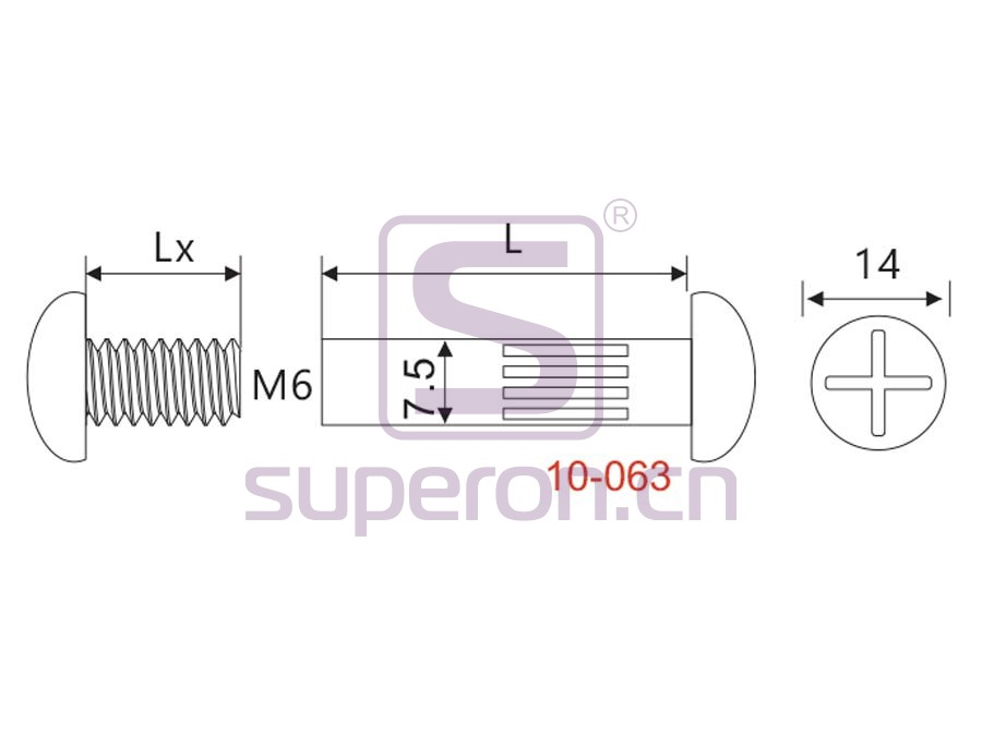 10-063-q   Mini mounting screw, М6/D7,5