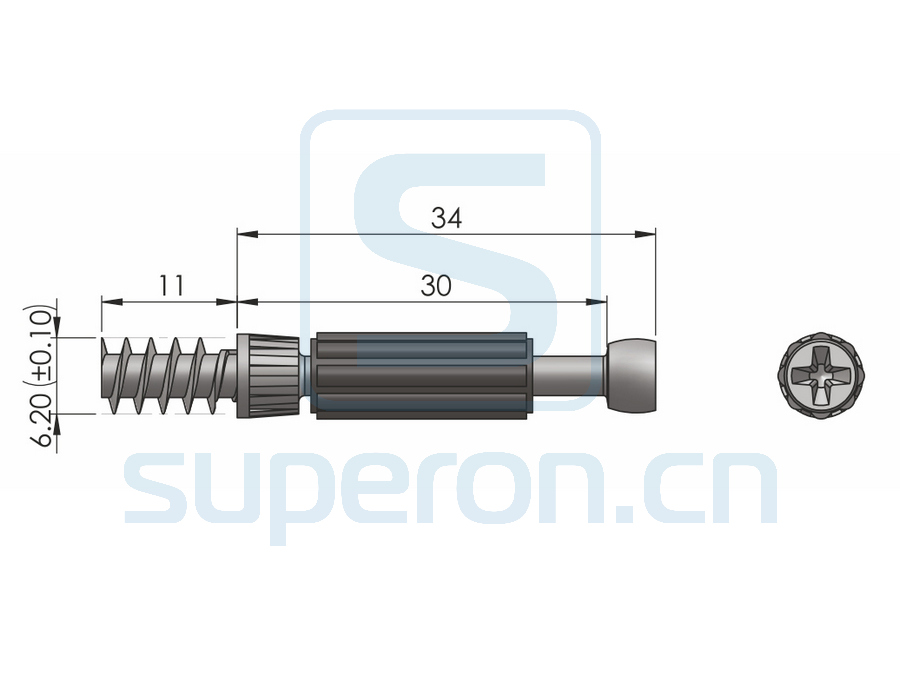10-155-q1   Dowel for eccentric, self tapping