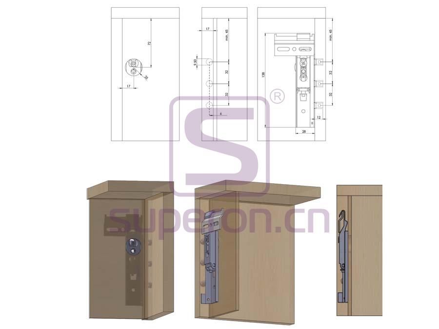 10-500-q | Cabinet hidden suspension bracket