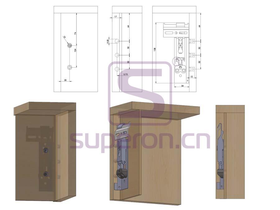 10-502-q | Cabinet hidden suspension bracket