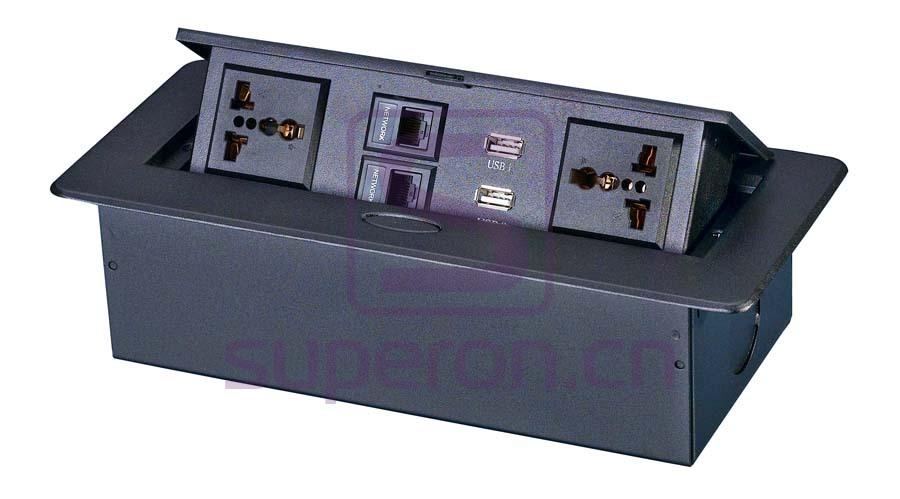 12-123-x3 | Hidden sockets block, table mount